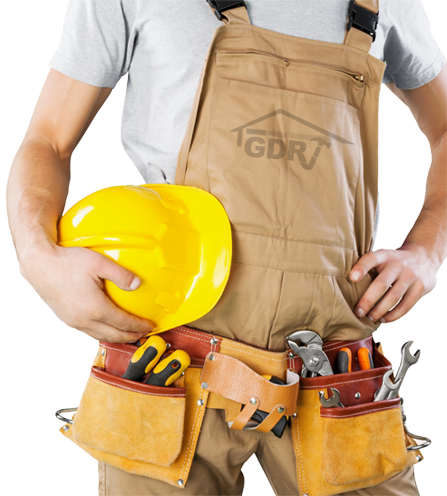 Technician with tool belt and helmet